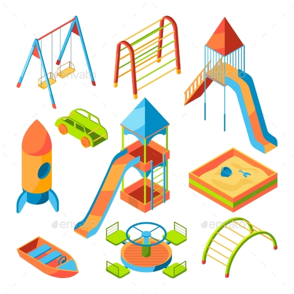 Vector Isometric Pictures of Kids Playground - Man-made Objects Objects