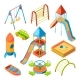 Vector Isometric Pictures of Kids Playground