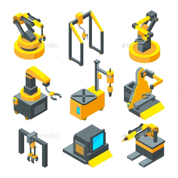 Isometric Pictures of Machinery - Man-made Objects Objects