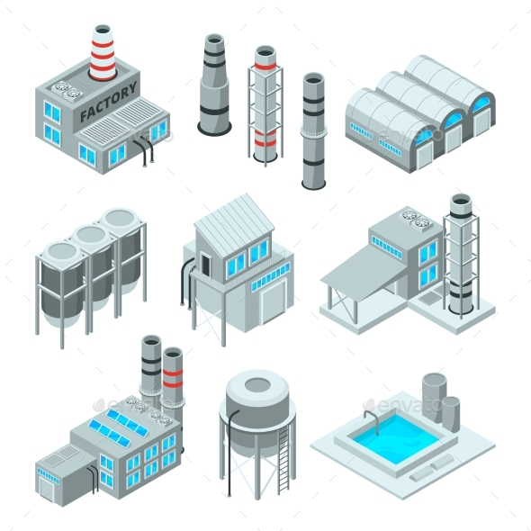Set of Industrial or Factory Buildings. - Buildings Objects