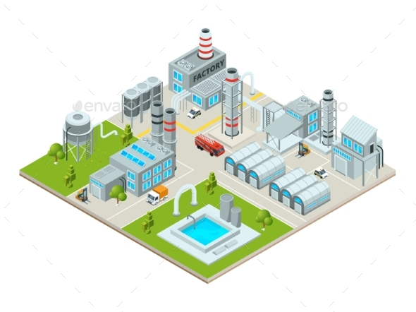 Outdoor Landscape with Factory Buildings - Buildings Objects