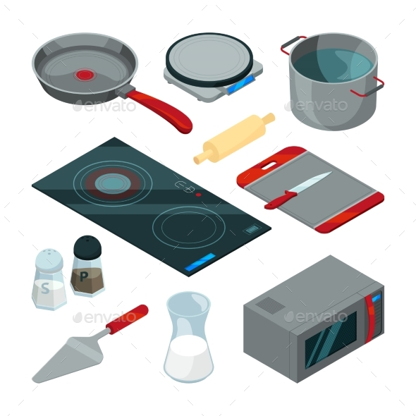 Kitchen Tools for Cooking. Isometric Pictures Set - Objects Vectors