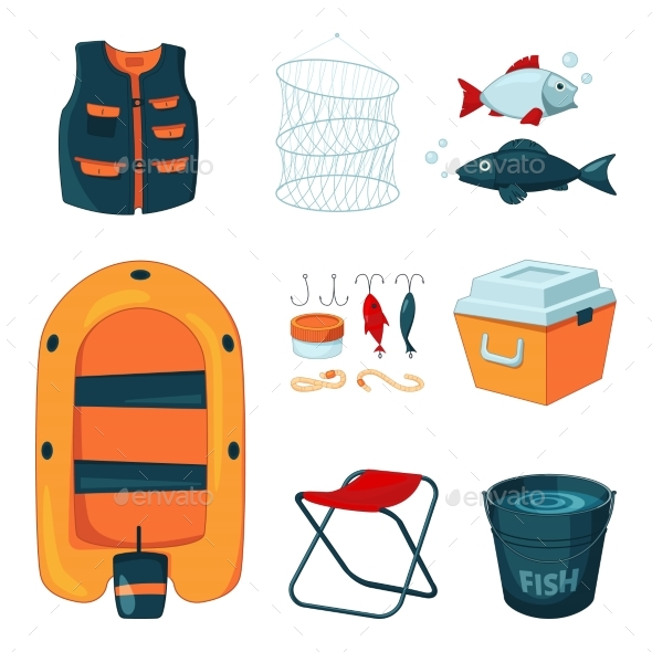 Different Tools for Fishing.  - Objects Vectors