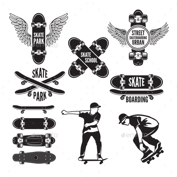 Illustrations of Skating and Labels - Miscellaneous Vectors