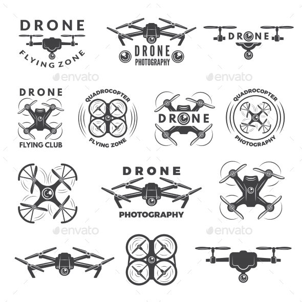 Set Labels with Different Illustrations of Drones - Communications Technology