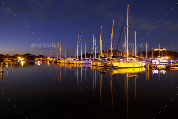 Caribbean Harbour With Sailboats At Night, Antigua - Stock Photo - Images