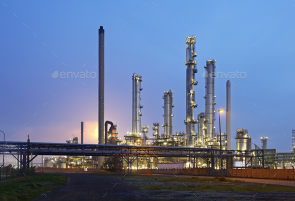 Refinery At Night - Stock Photo - Images