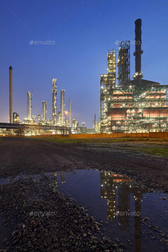 Refinery At Night With Reflection - Stock Photo - Images