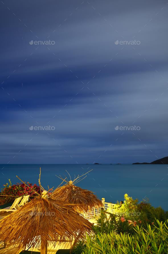 Caribbean Sea Long Exposure, Antigua - Stock Photo - Images