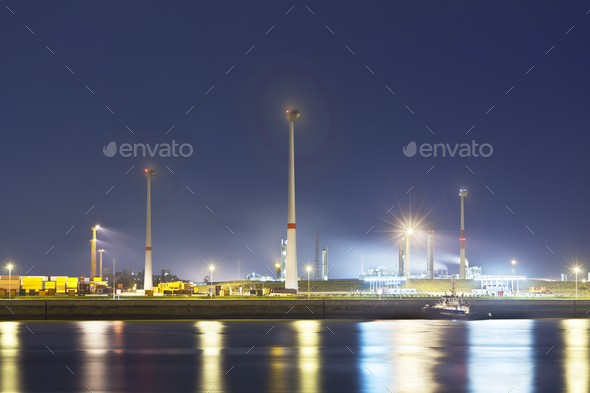 Wind Generation In Harbor At Night - Stock Photo - Images