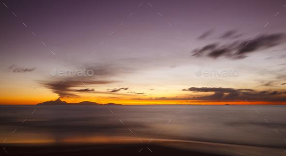 Caribbean Volcano Eruption Sunset, Antigua - Stock Photo - Images