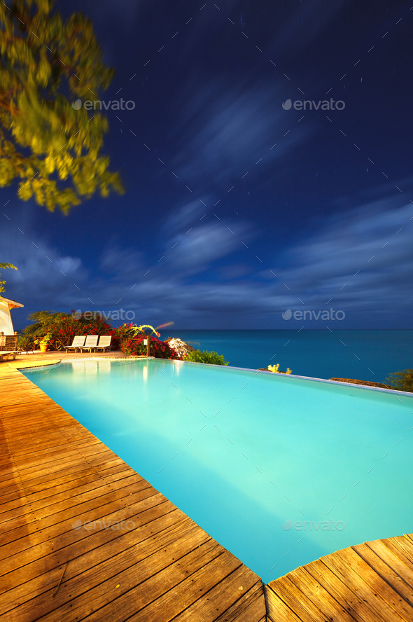 Caribbean Hotel Pool At Night, Antigua - Stock Photo - Images