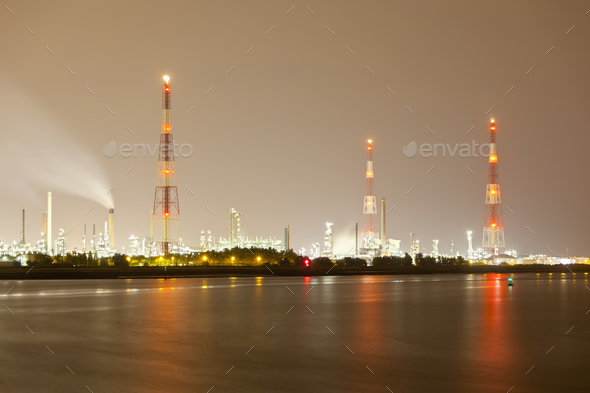 Refinery And Flare Stack At Night - Stock Photo - Images