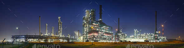Refinery At Night Panorama - Stock Photo - Images