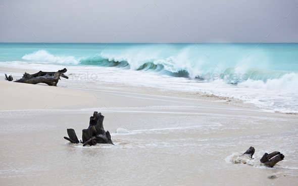 Storm At Caribbean Beach, Antigua - Stock Photo - Images