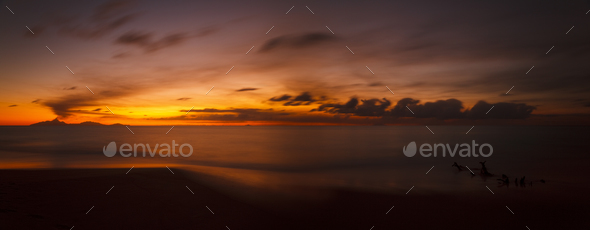 Volcano Eruption Sunset Panorama, Antigua - Stock Photo - Images
