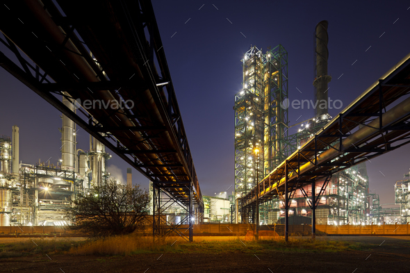 Pipelines And Refinery At Night - Stock Photo - Images