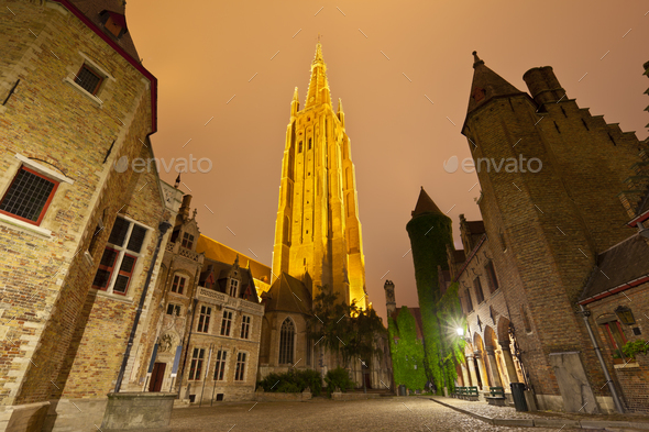 Church Of Our Lady In Bruges At Night - Stock Photo - Images