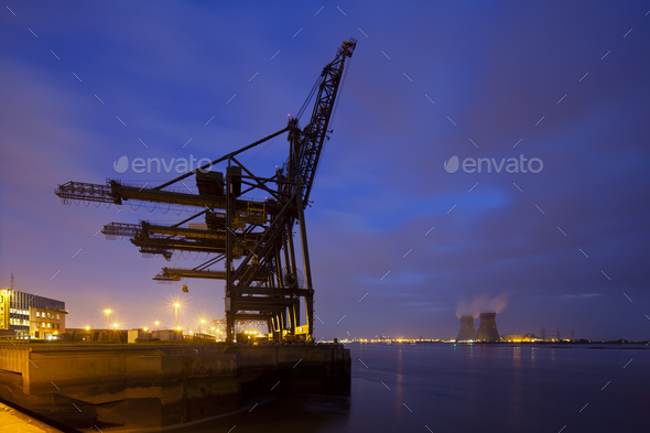 Container Harbor And Power Station At Night - Stock Photo - Images