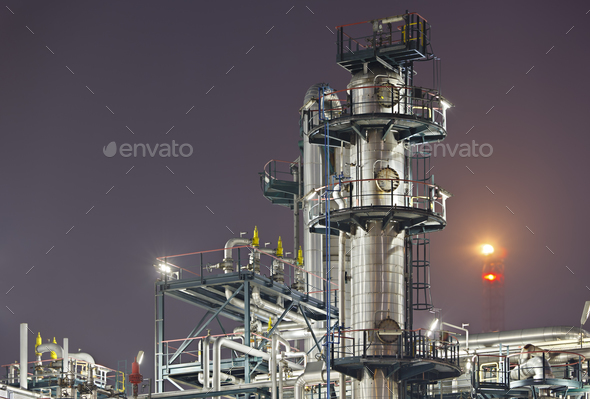 Refinery Detail At Night - Stock Photo - Images