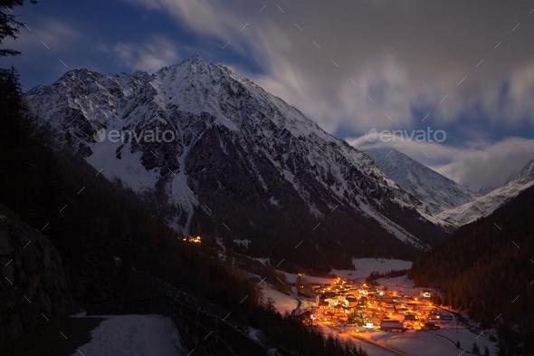 Illuminated Mountain Village, Austria - Stock Photo - Images