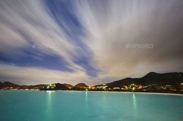 Caribbean Coastline At Night, Antigua - Stock Photo - Images