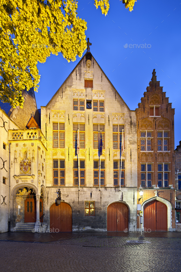 Old Toll House Of Bruges At Night - Stock Photo - Images