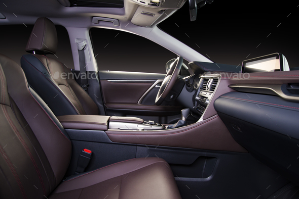 Modern luxury car red perforated leather interior - Stock Photo - Images