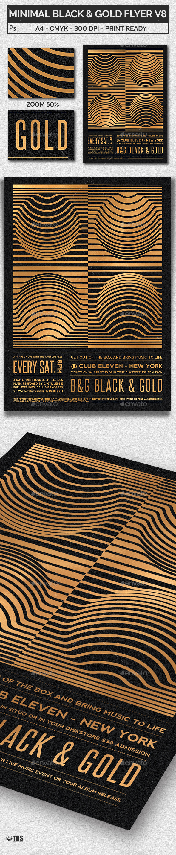 Minimal Black and Gold Flyer Template V8 - Clubs & Parties Events