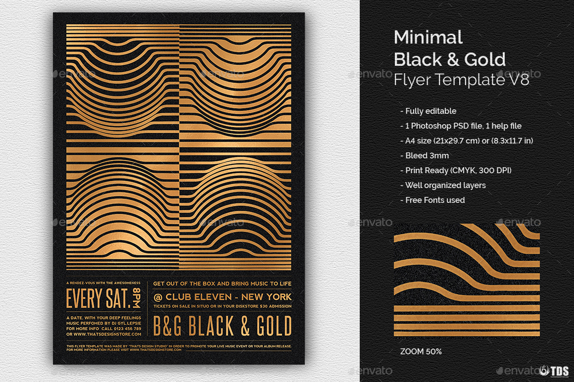 Minimal Black And Gold Flyer Template V8 By Lou606 Graphicriver