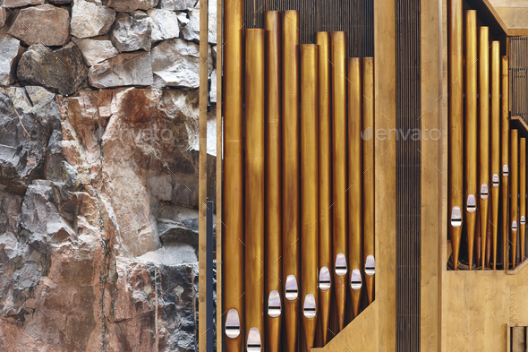 Organ pipe detail on Helsinki rock church. Temppeliaukio. Finland - Stock Photo - Images