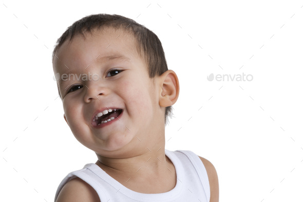 Portrait of a laughing toddler boy - Stock Photo - Images