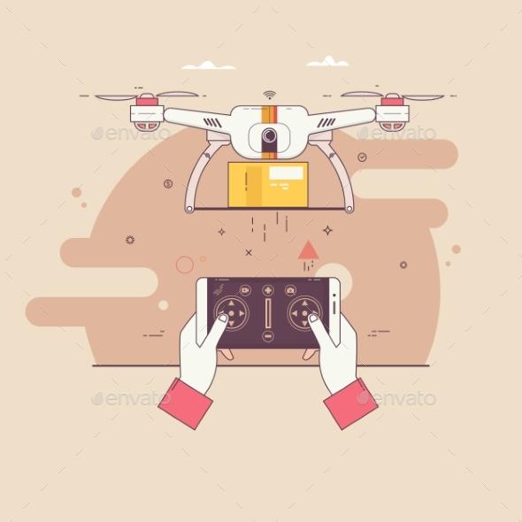 Drone Delivers the Parcel - Miscellaneous Vectors