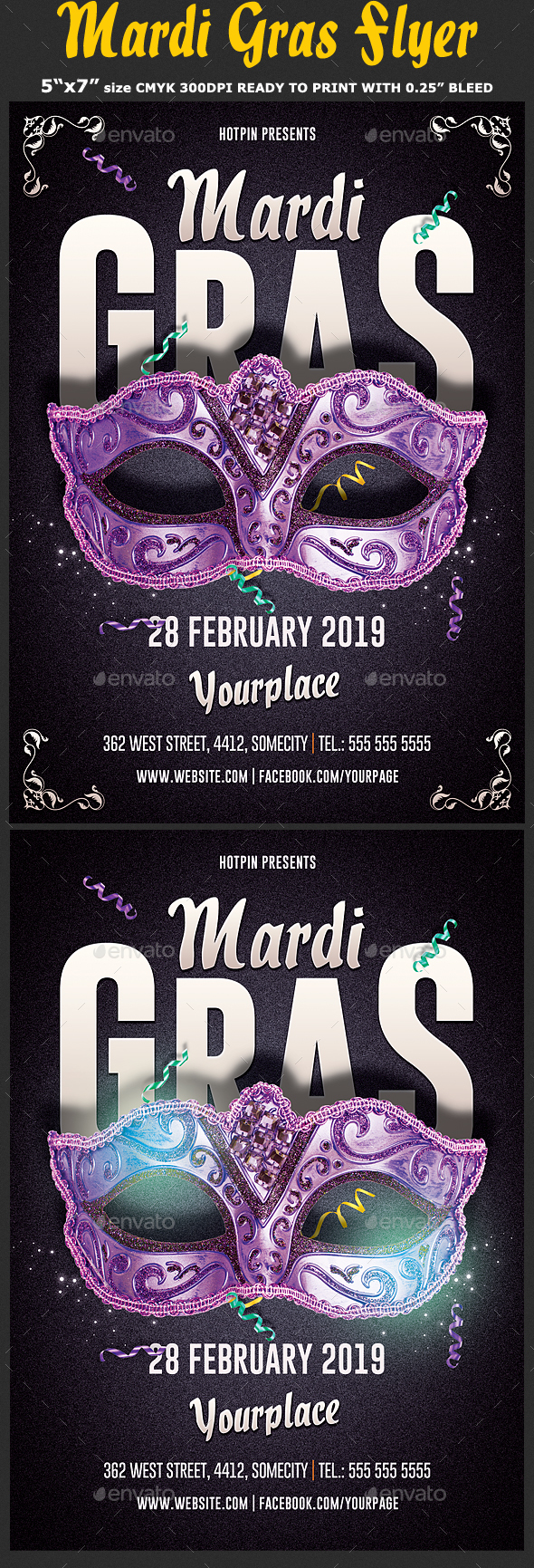 Mardi Gras Flyer Template - Clubs & Parties Events