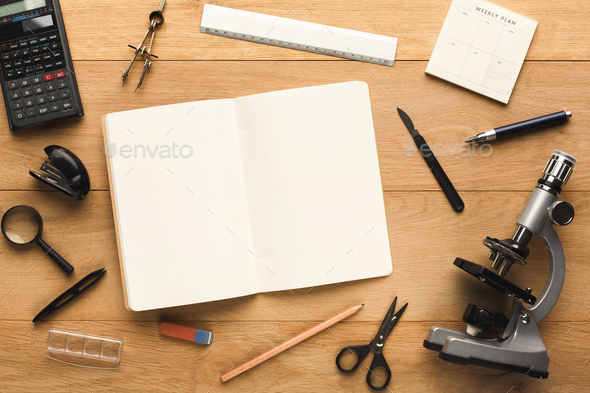 Desktop with various stationery for school education, top view - Stock Photo - Images