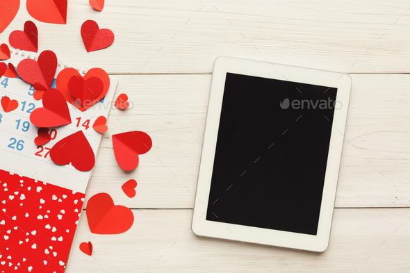 Valentine day online, emailing background - Stock Photo - Images