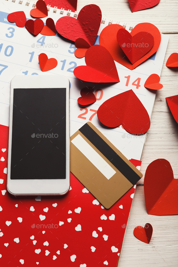 Valentine day online shopping background with copy space - Stock Photo - Images