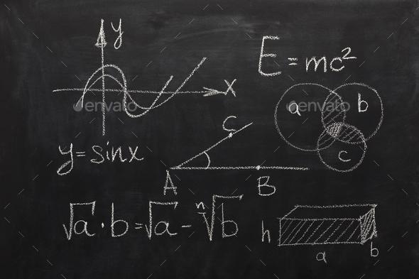 Math formulas on black chalkboard - Stock Photo - Images