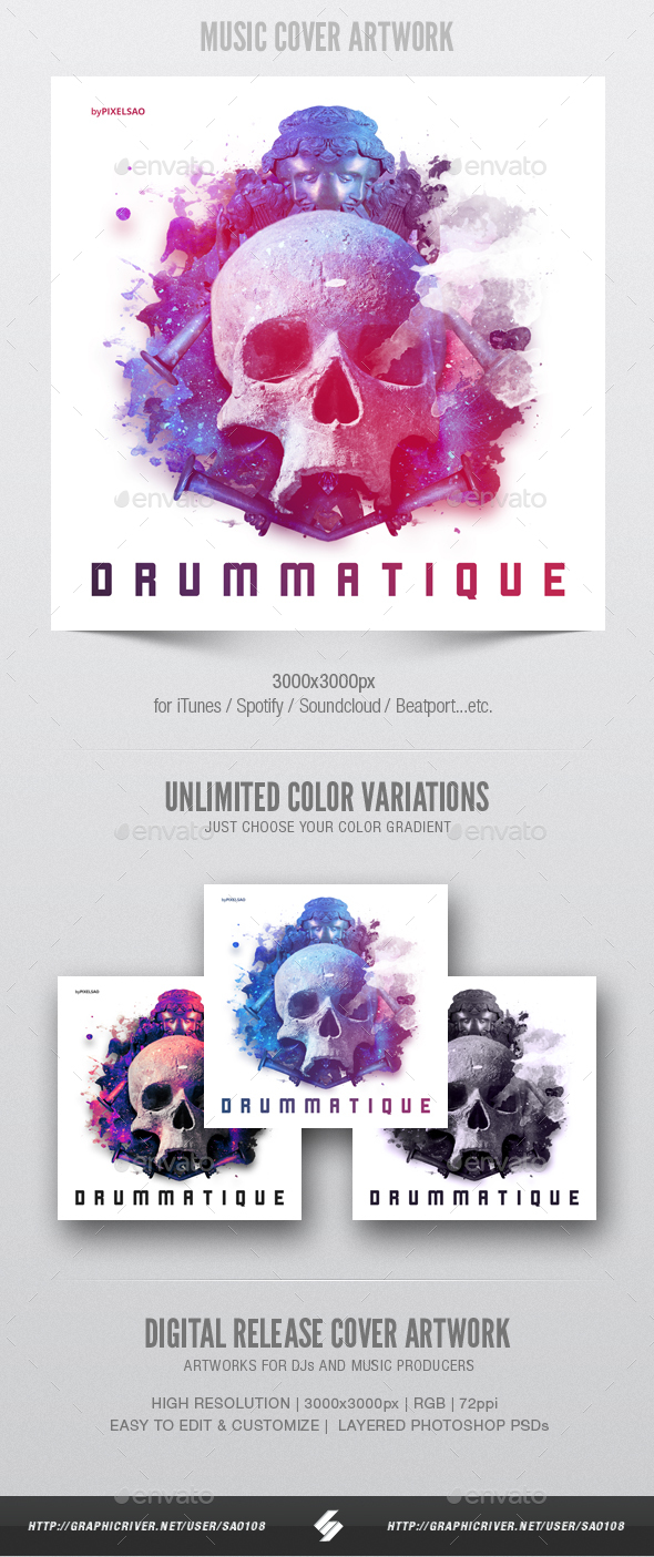 Drummatique music album cover artwork template by sao108 drummatique music album cover artwork template miscellaneous social media maxwellsz