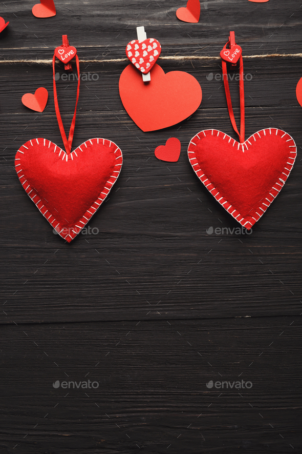 Valentine day background, handmade hearts on wood with copy space - Stock Photo - Images