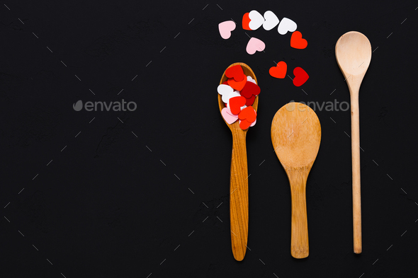 Valentine background, paper hearts and wooden spoons - Stock Photo - Images