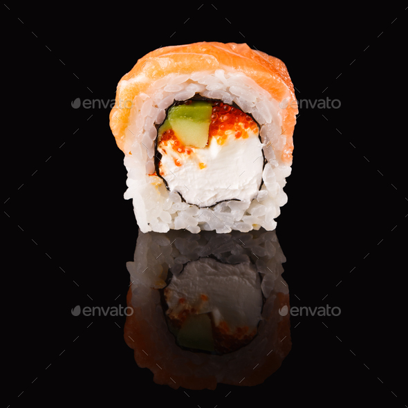 Japanese roll on black mirroring background - Stock Photo - Images