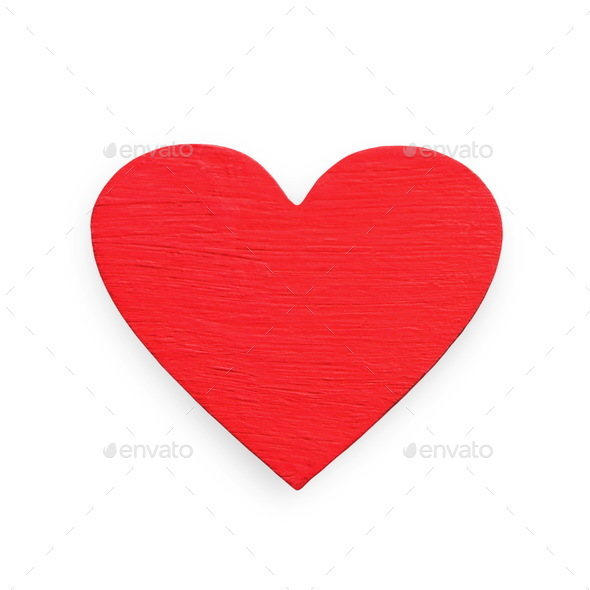 Valentine day background, red wooden heart isolated - Stock Photo - Images