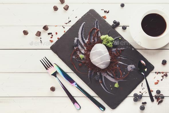 Rockshaped mousse restaurant dessert - Stock Photo - Images