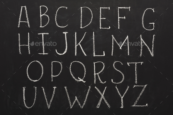 English abc written by chalk on blackboard - Stock Photo - Images