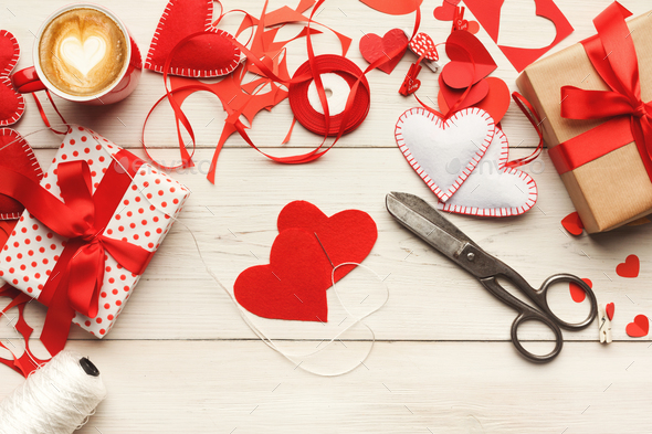 Valentine day handmade scrapbooking background, cut and paste he - Stock Photo - Images