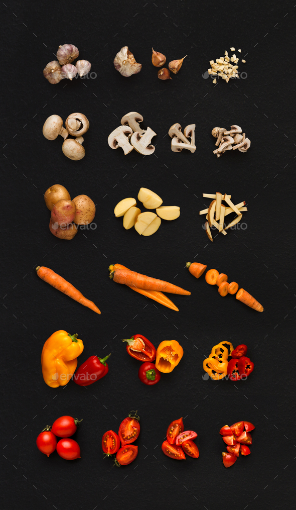 Collage of various vegetables on black background, isolated - Stock Photo - Images
