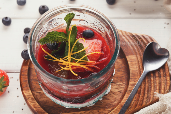 Chia pudding with berries, healthy restaurant dessert - Stock Photo - Images