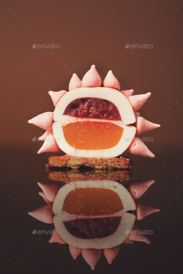 Pink restaurant dessert on porcelain plate - Stock Photo - Images