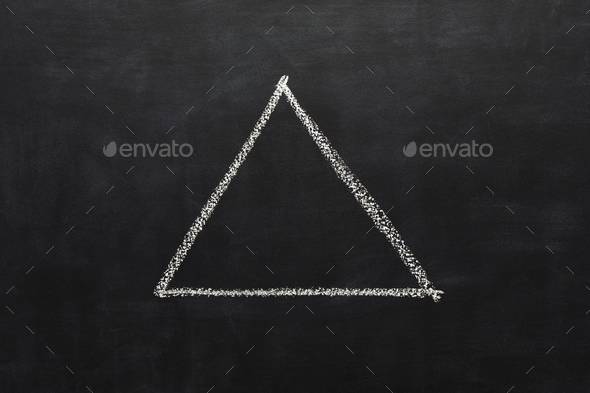 Triangle drawn with chalk on blackboard - Stock Photo - Images